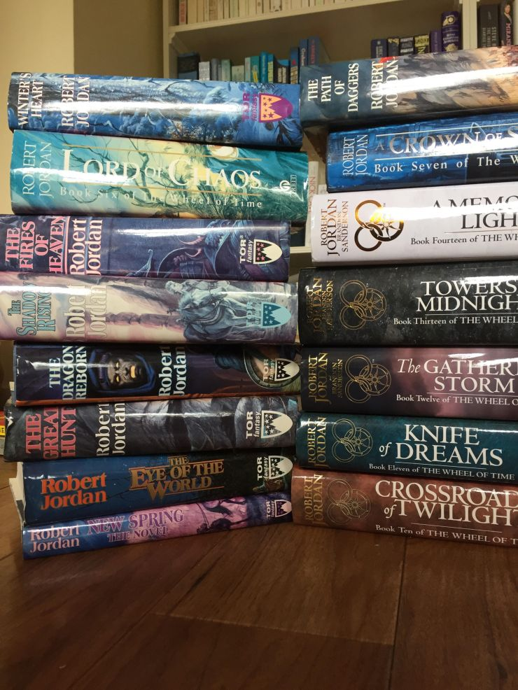This one's easy: put all the books of the same series together